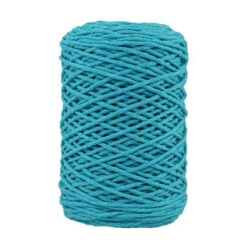 Coton bitord, barbante, fil de coton recyclé, 3 mm, bleu cyan