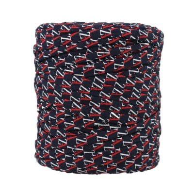 Trapilho imprimé rouge blanc bleu - Bobine, pelote de t-shirt yarn, Hooked, zpagetti, trapillo. Fil de tissu recyclé en jersey pour crochet, tricot, tissage, macramé, bijoux