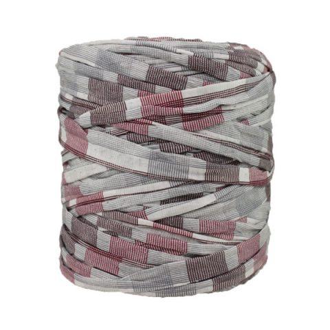 Trapilho imprimé bordeaux gris blanc cassé - Bobine, pelote de t-shirt yarn, Hooked, zpagetti, trapillo. Fil de tissu recyclé en jersey pour crochet, tricot, tissage, macramé, bijoux