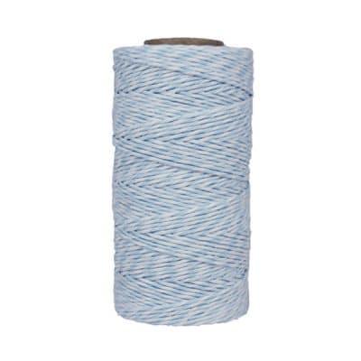 Fil de coton ciré - Bleu dragée et blanc