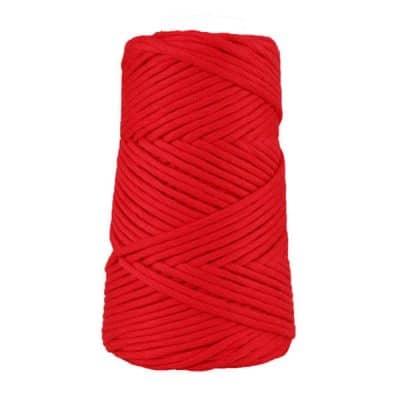 Coton peigné suprême 4 mm - Rouge coquelicot 4 mm - Cordon pour macramé, crochet