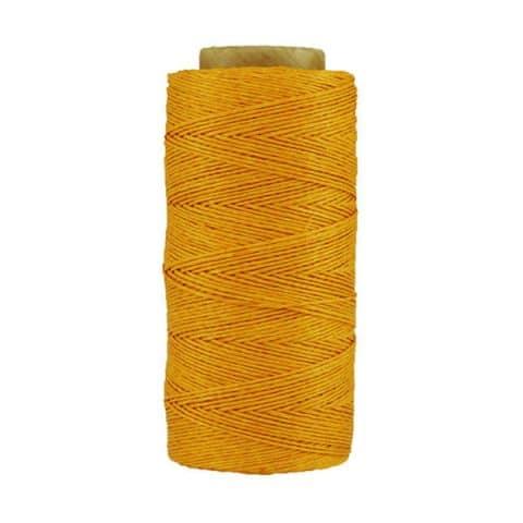 Fil de lin ciré - Jaune - Bobine 100% lin - Micro-macramé, bijoux, couture, reliure, maroquinerie